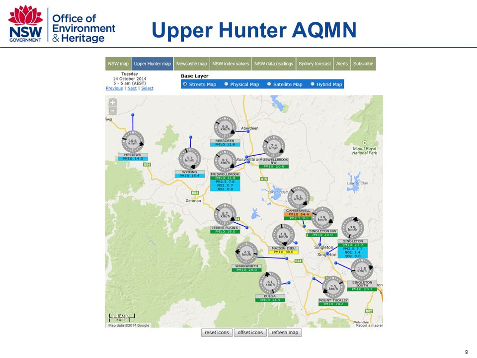 10 Newcastle local AQMN  Three new air quality monitoring stations  Opened August 2014 (Carrington, Mayfield, Stockton end of October )  Funded by industry  Operated by OEH  Enhanced information to the community regarding air quality around the Port of Newcastle.