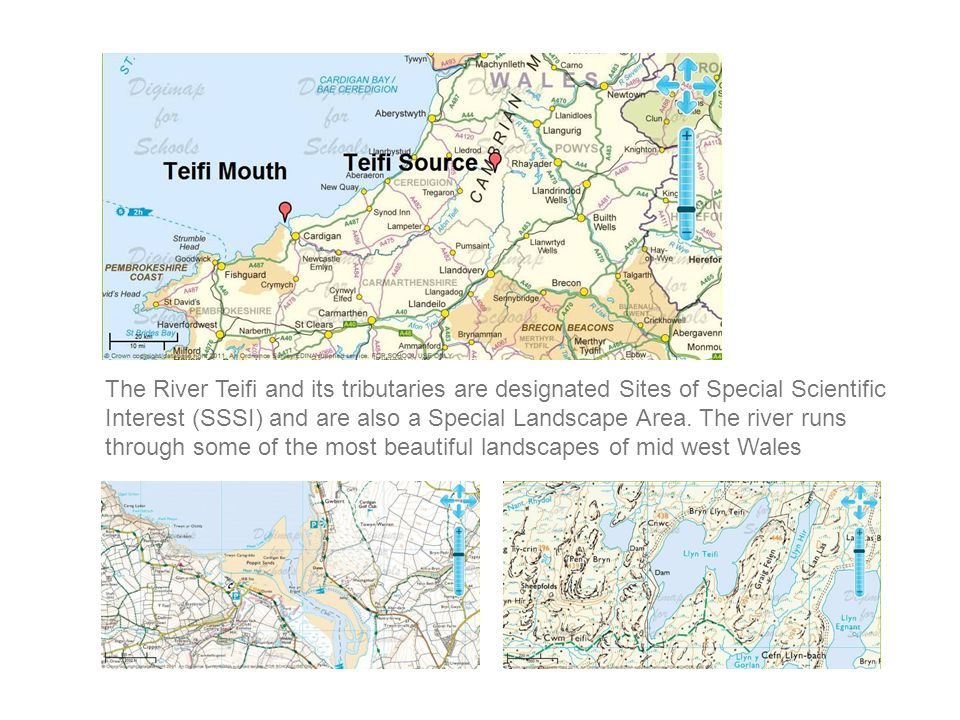 The River Teifi and its tributaries are designated Sites of Special Scientific Interest (SSSI) and are also a Special Landscape Area. The river runs t