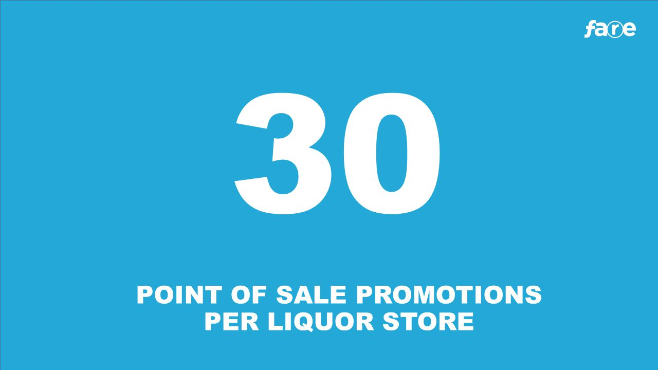 30 POINT OF SALE PROMOTIONS PER LIQUOR STORE