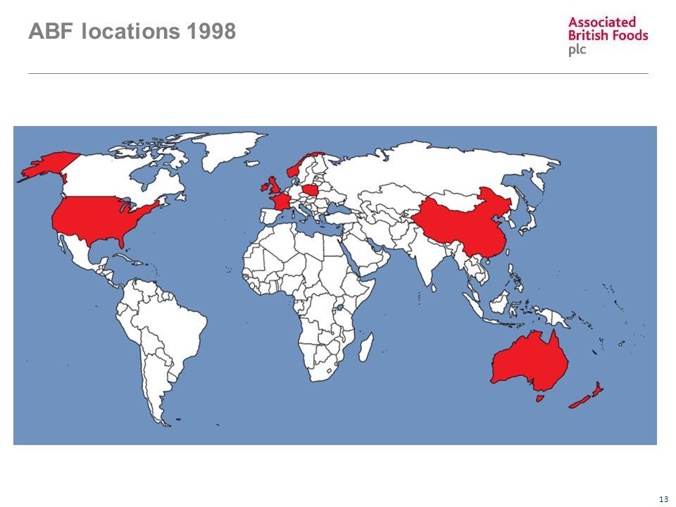 13 ABF locations 1998