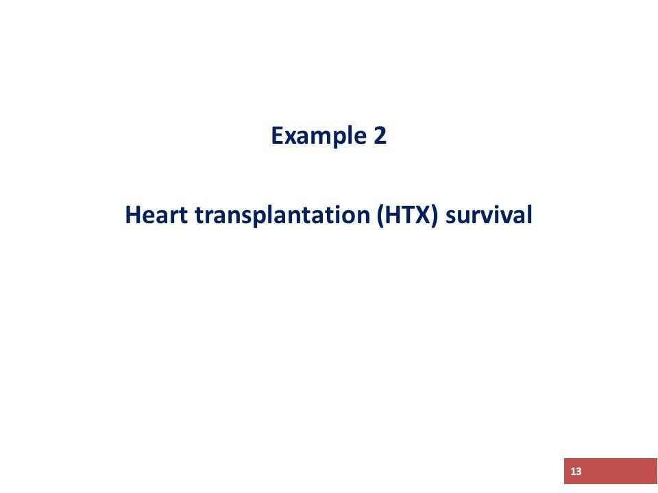 Example 2 Heart transplantation (HTX) survival 13