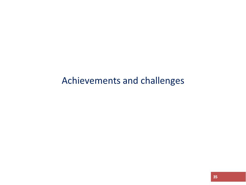 Achievements and challenges 35