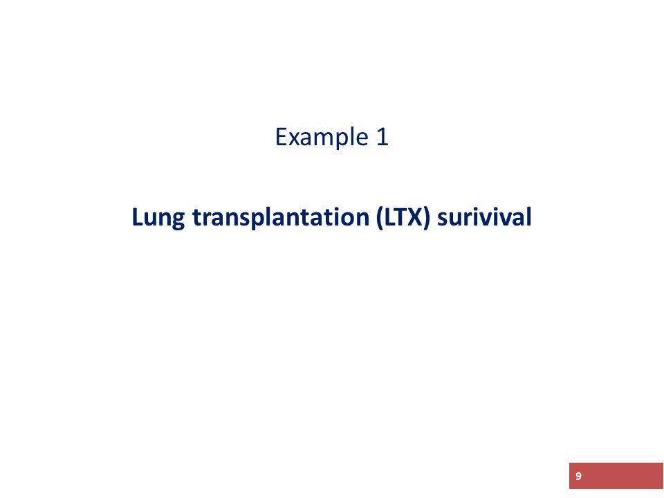 Example 1 Lung transplantation (LTX) surivival 9