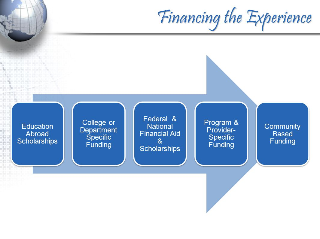 Financing the Experience Education Abroad Scholarships College or Department Specific Funding Federal & National Financial Aid & Scholarships Program & Provider- Specific Funding Community Based Funding