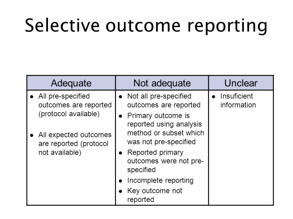 Selective outcome reporting AdequateNot adequateUnclear All pre-specified outcomes are reported (protocol available) All expected outcomes are reporte