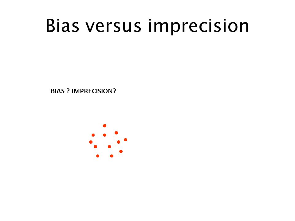 Bias versus imprecision BIAS IMPRECISION