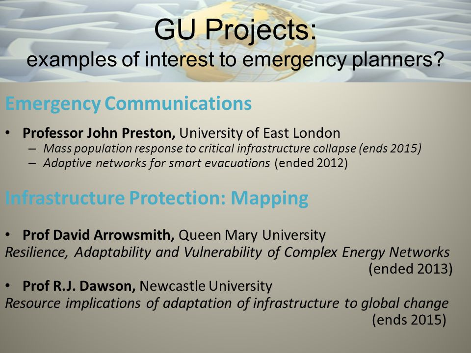 GU Projects: examples of interest to emergency planners.