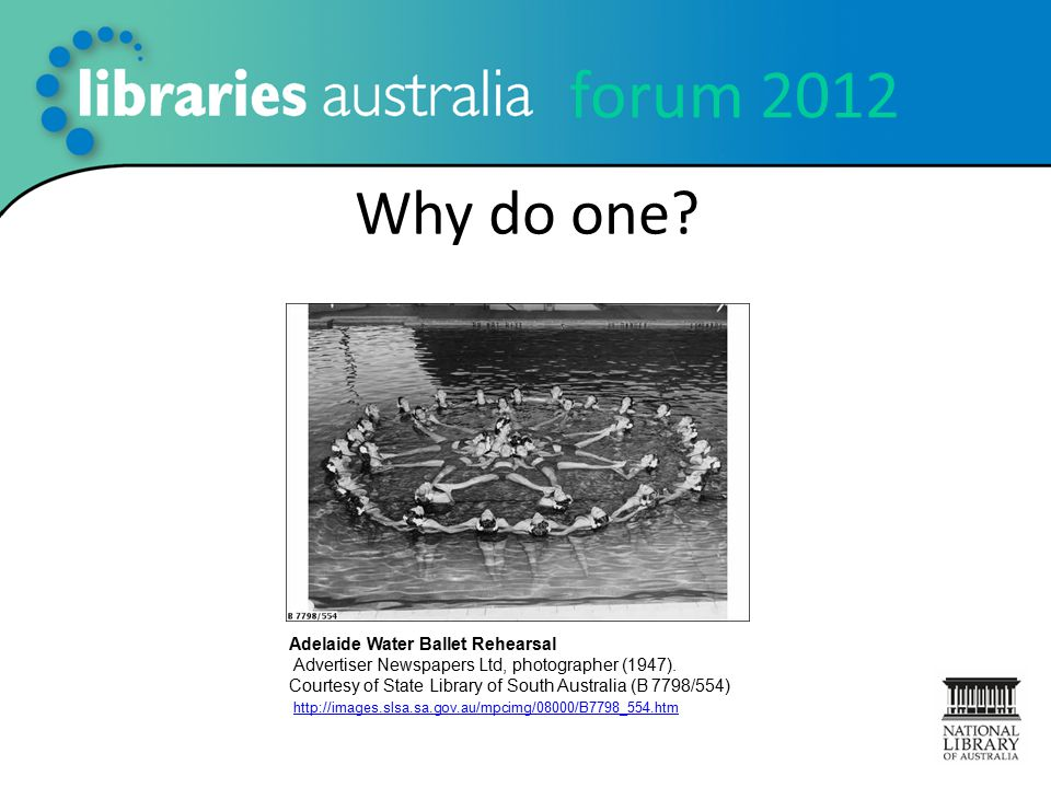 forum 2012 Why do one? Adelaide Water Ballet Rehearsal Advertiser Newspapers Ltd, photographer (1947). Courtesy of State Library of South Australia (B