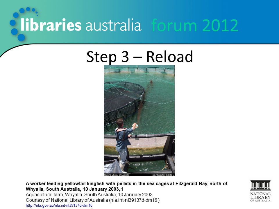 forum 2012 Step 3 – Reload A worker feeding yellowtail kingfish with pellets in the sea cages at Fitzgerald Bay, north of Whyalla, South Australia, 10