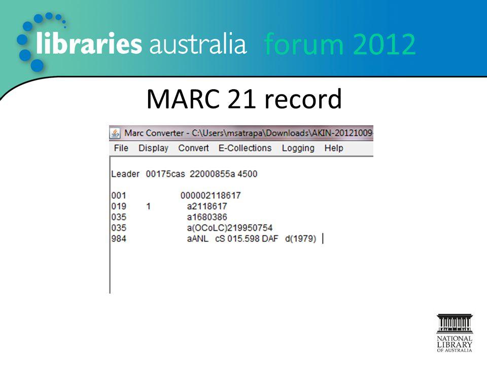 forum 2012 MARC 21 record