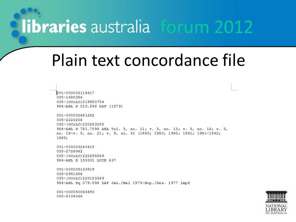 forum 2012 Plain text concordance file