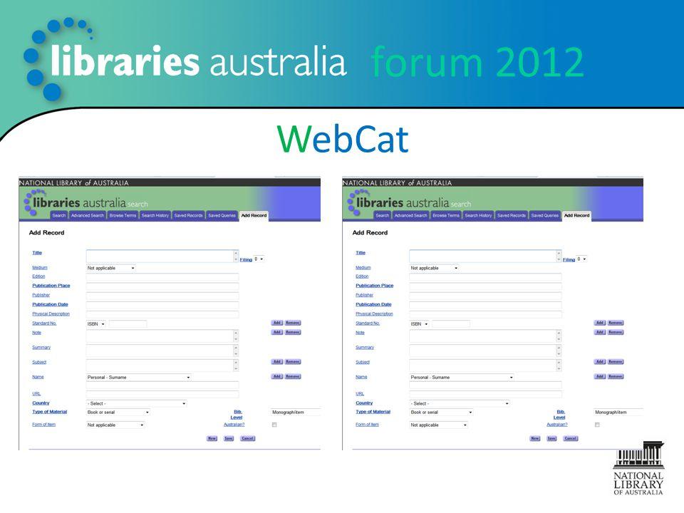 forum 2012 WebCat