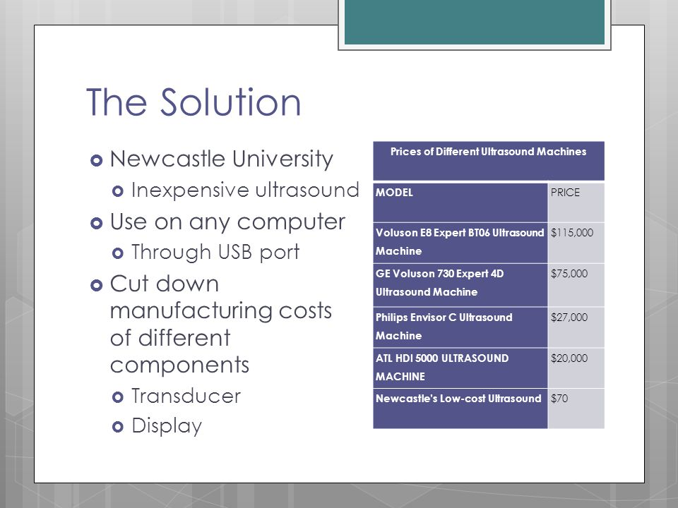 The Solution  Newcastle University  Inexpensive ultrasound  Use on any computer  Through USB port  Cut down manufacturing costs of different comp