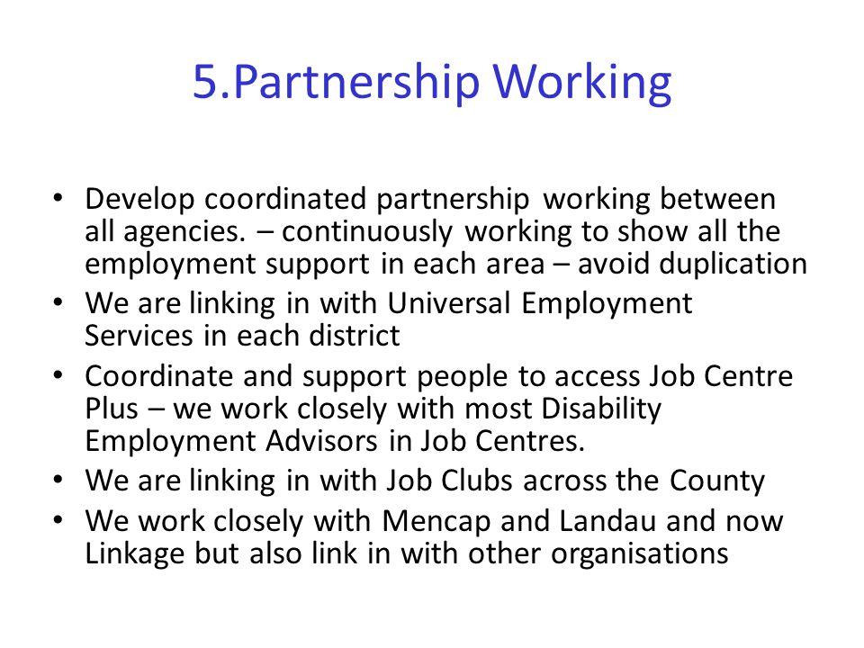 5.Partnership Working Develop coordinated partnership working between all agencies.