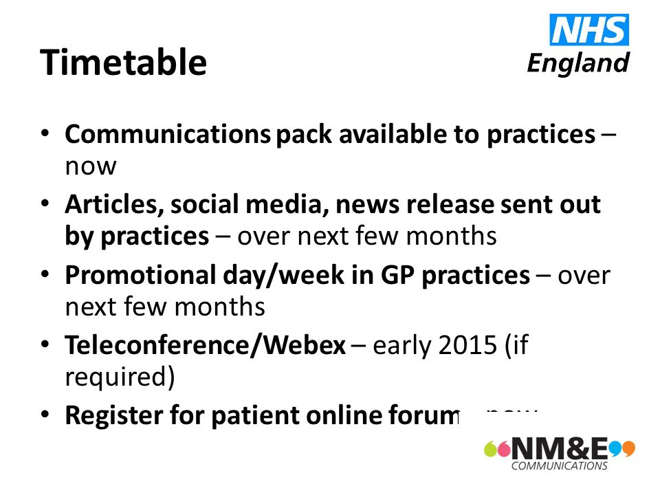 Timetable Communications pack available to practices – now Articles, social media, news release sent out by practices – over next few months Promotion