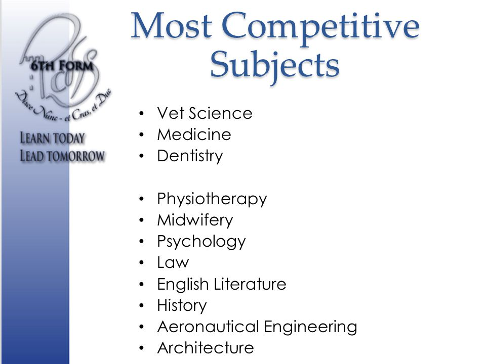 Most Competitive Subjects Vet Science Medicine Dentistry Physiotherapy Midwifery Psychology Law English Literature History Aeronautical Engineering Architecture