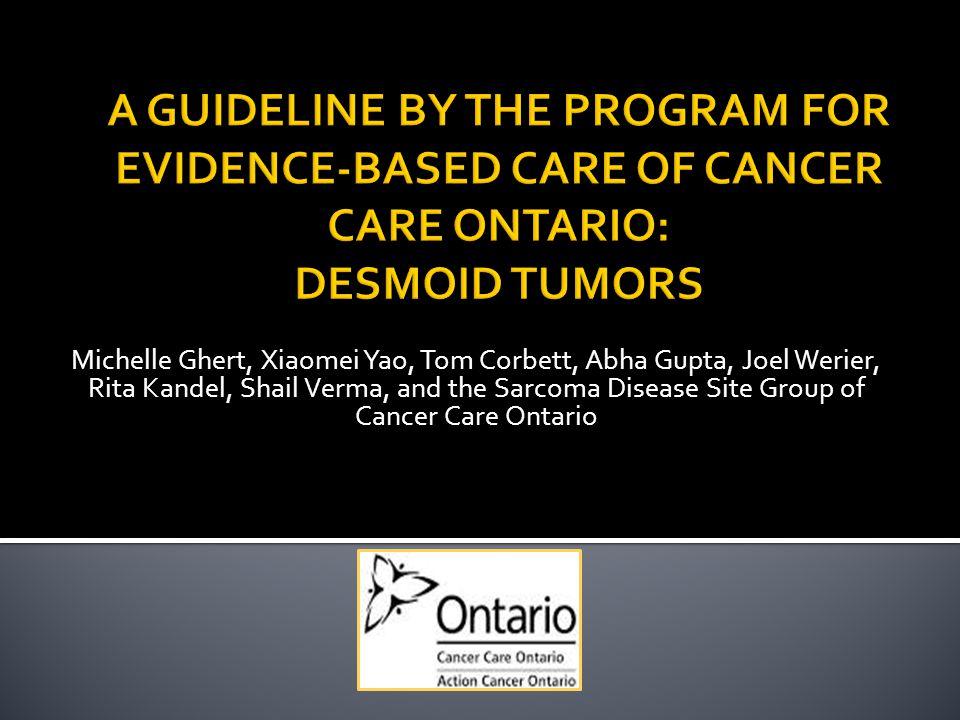 Michelle Ghert, Xiaomei Yao, Tom Corbett, Abha Gupta, Joel Werier, Rita Kandel, Shail Verma, and the Sarcoma Disease Site Group of Cancer Care Ontario