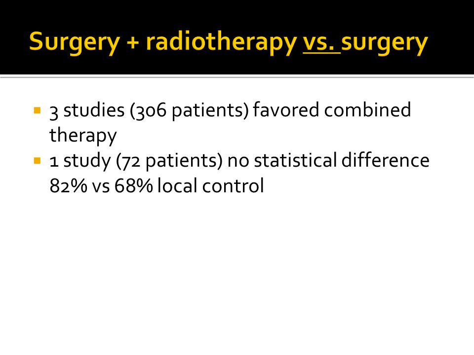  3 studies (306 patients) favored combined therapy  1 study (72 patients) no statistical difference 82% vs 68% local control