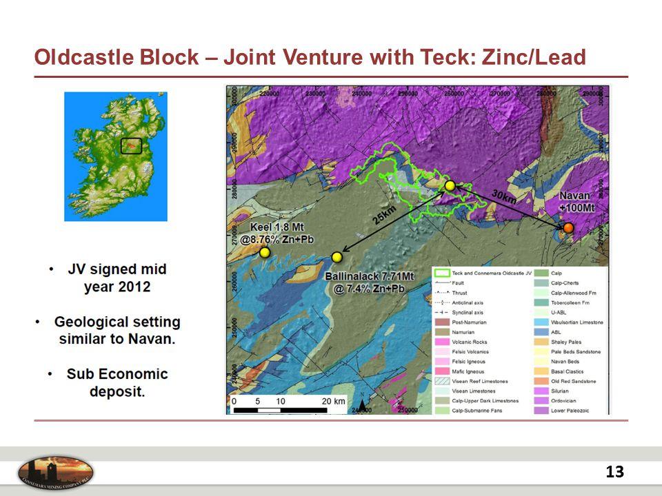Oldcastle Block – Joint Venture with Teck: Zinc/Lead 13