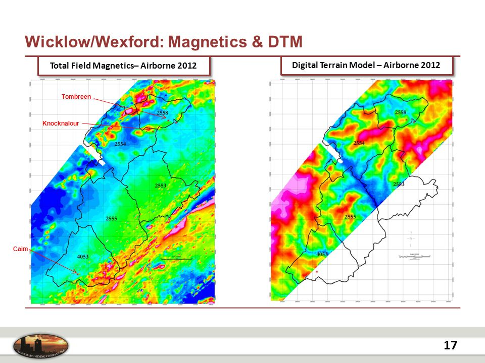Wicklow/Wexford: Magnetics & DTM 17 Digital Terrain Model – Airborne 2012 Total Field Magnetics– Airborne 2012 Knocknalour Tombreen Caim