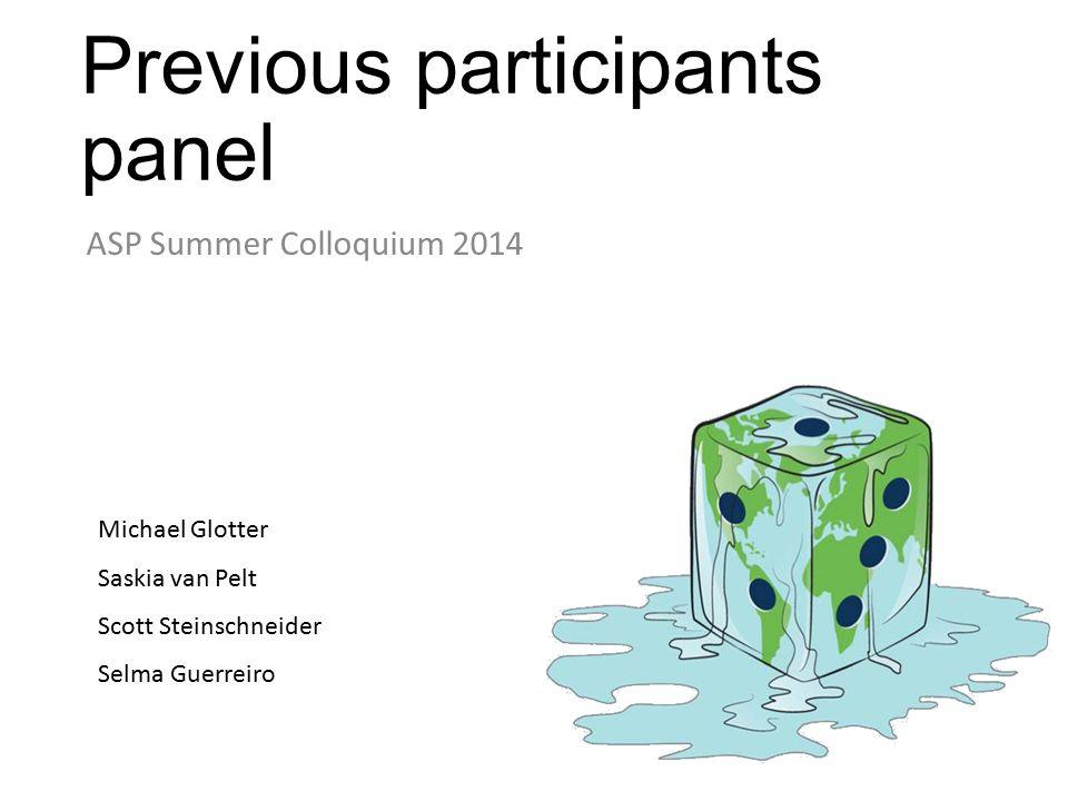 Previous participants panel ASP Summer Colloquium 2014 Michael Glotter Saskia van Pelt Scott Steinschneider Selma Guerreiro