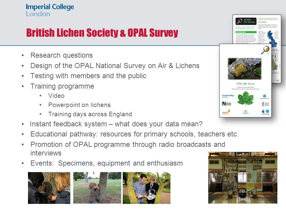 British Lichen Society & OPAL Survey Research questions Design of the OPAL National Survey on Air & Lichens Testing with members and the public Training programme Video Powerpoint on lichens Training days across England Instant feedback system – what does your data mean.