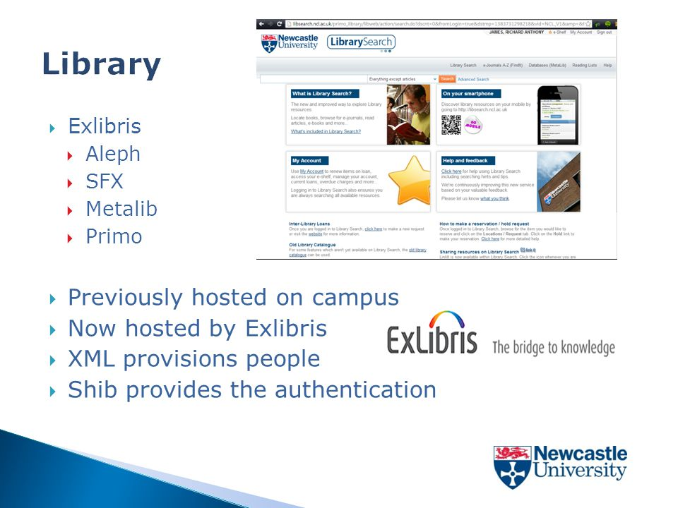  Exlibris  Aleph  SFX  Metalib  Primo  Previously hosted on campus  Now hosted by Exlibris  XML provisions people  Shib provides the authentication