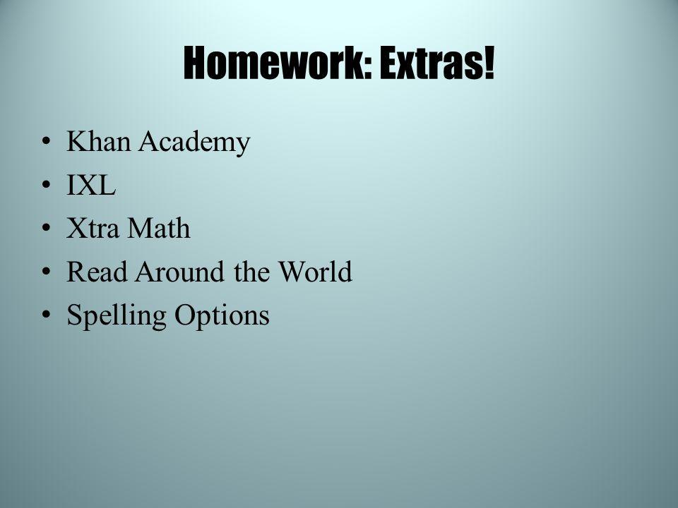 Homework: Extras! Khan Academy IXL Xtra Math Read Around the World Spelling Options