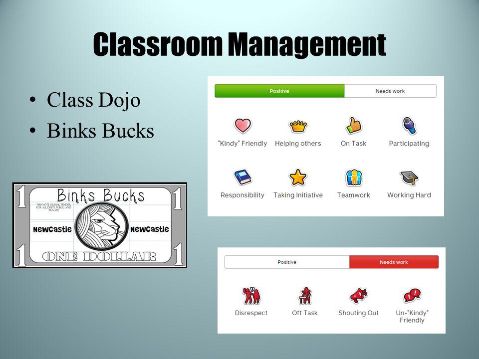 Classroom Management Class Dojo Binks Bucks