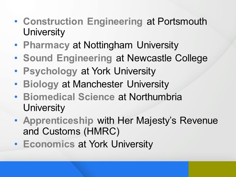 Construction Engineering at Portsmouth University Pharmacy at Nottingham University Sound Engineering at Newcastle College Psychology at York Universi