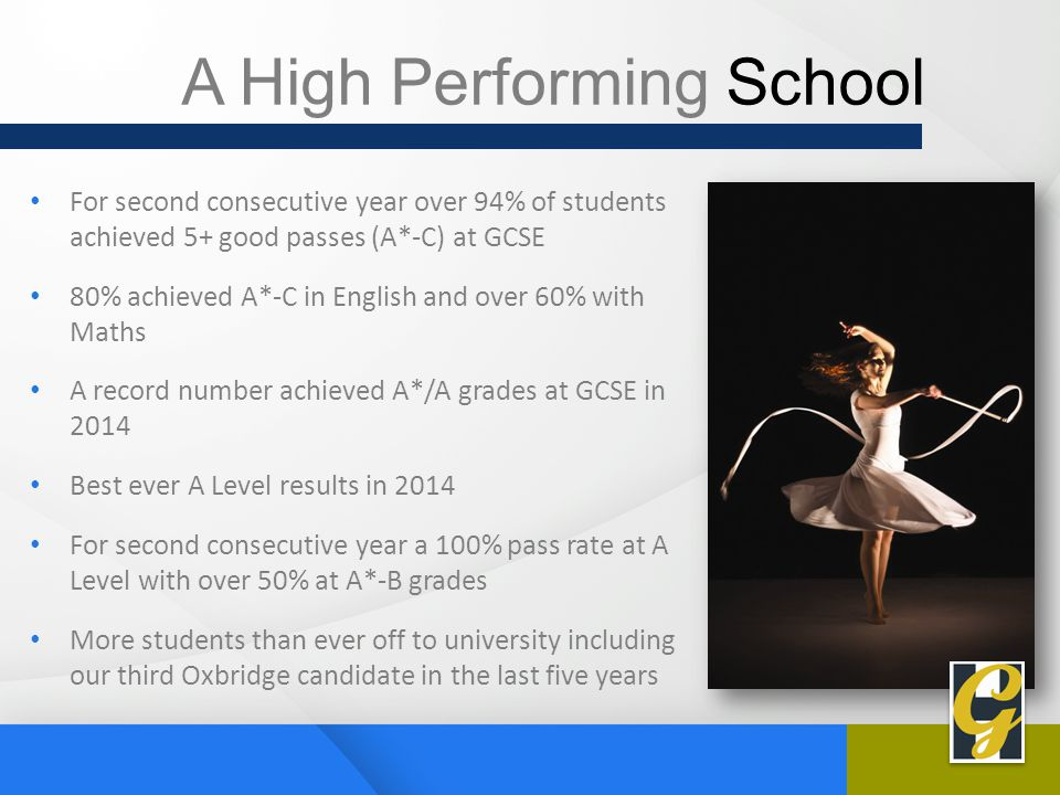 A High Performing School For second consecutive year over 94% of students achieved 5+ good passes (A*-C) at GCSE 80% achieved A*-C in English and over