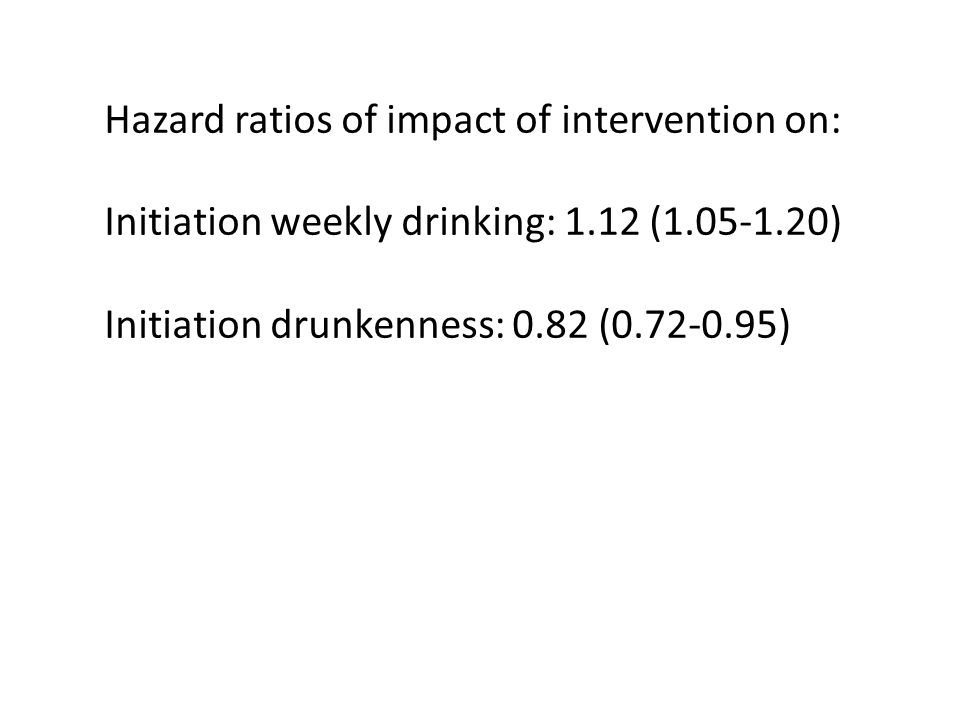 Hazard ratios of impact of intervention on: Initiation weekly drinking: 1.12 (1.05-1.20) Initiation drunkenness: 0.82 (0.72-0.95)