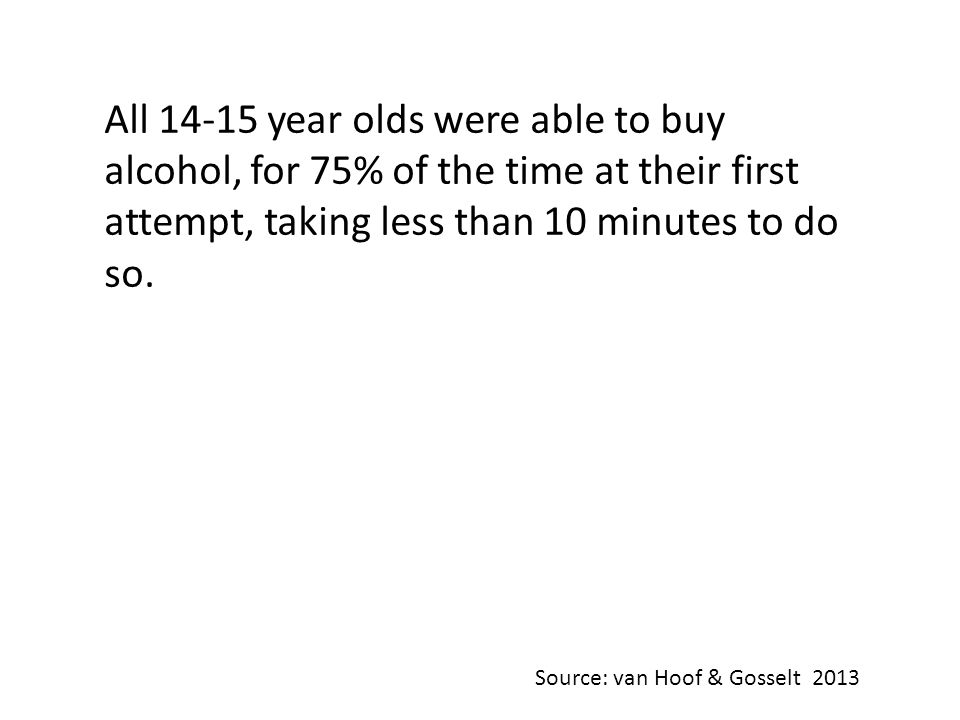 All 14-15 year olds were able to buy alcohol, for 75% of the time at their first attempt, taking less than 10 minutes to do so.