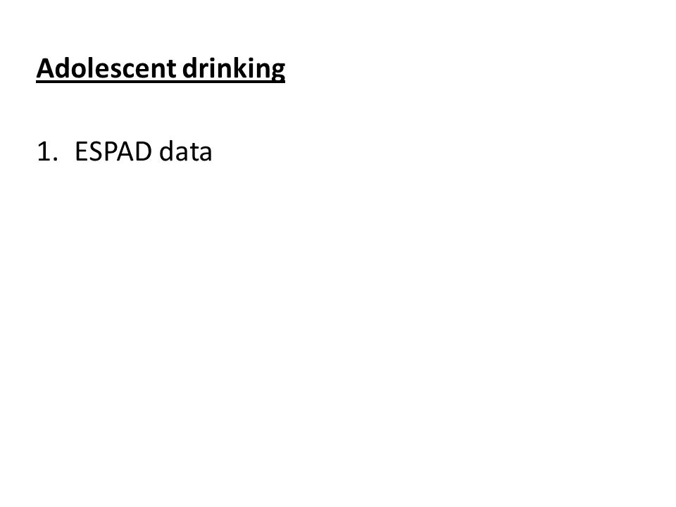 Source: Hibell et al 2012 Use of alcohol by 15-16 year olds during the past 30 days.