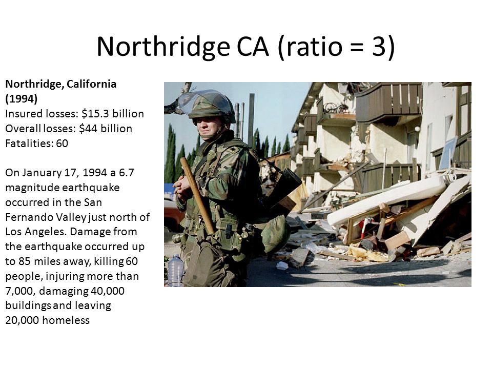 Northridge CA (ratio = 3) Northridge, California (1994) Insured losses: $15.3 billion Overall losses: $44 billion Fatalities: 60 On January 17, 1994 a 6.7 magnitude earthquake occurred in the San Fernando Valley just north of Los Angeles.