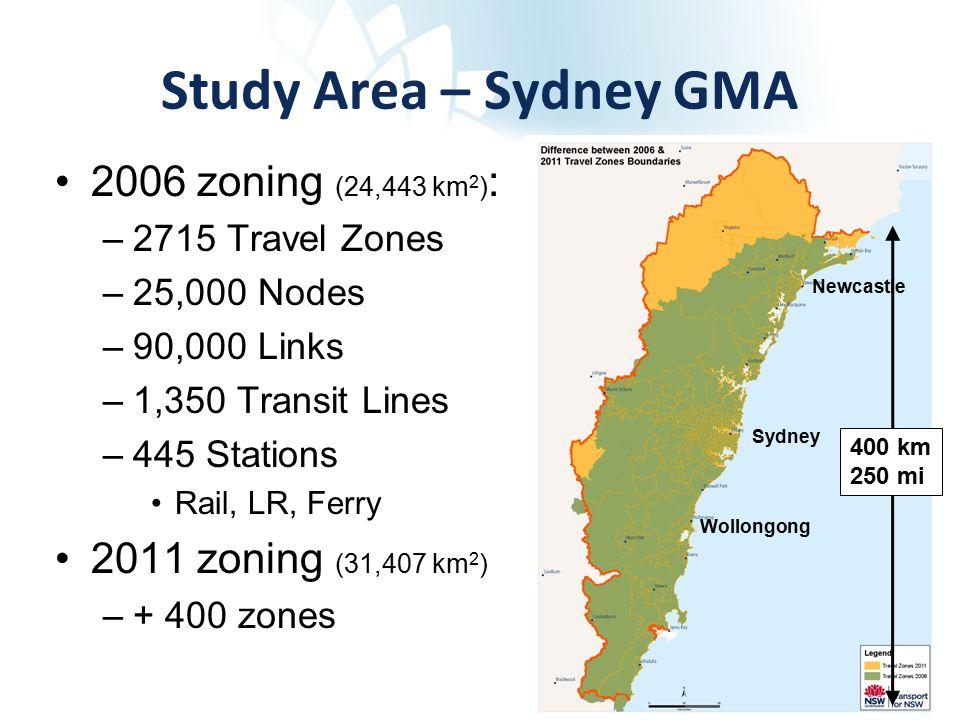 Study Area – Sydney GMA 2006 zoning (24,443 km 2 ) : –2715 Travel Zones –25,000 Nodes –90,000 Links –1,350 Transit Lines –445 Stations Rail, LR, Ferry 2011 zoning (31,407 km 2 ) –+ 400 zones Sydney Newcastle Wollongong 400 km 250 mi
