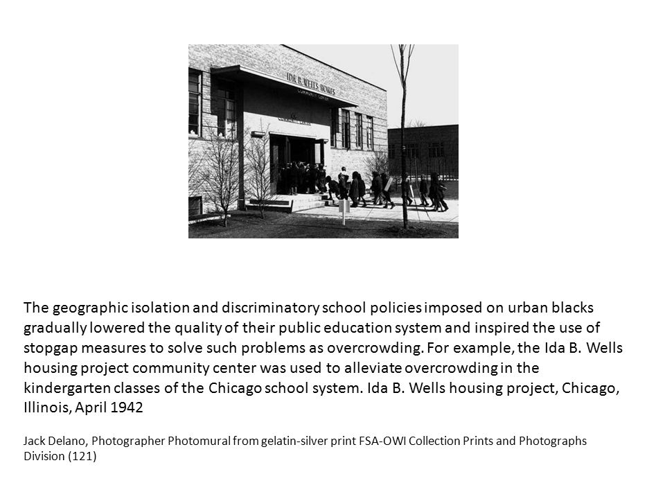 The geographic isolation and discriminatory school policies imposed on urban blacks gradually lowered the quality of their public education system and inspired the use of stopgap measures to solve such problems as overcrowding.