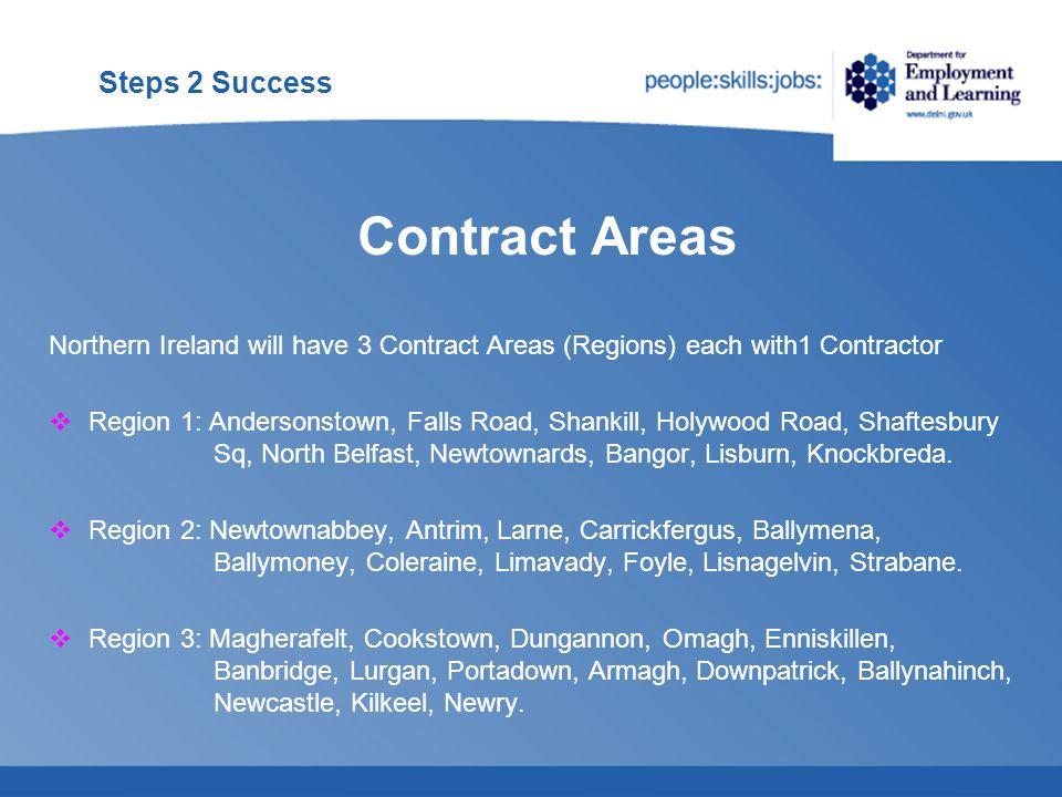 Steps 2 Success  Region 1 – INGEUS  Region 2 - EOS  Region 3 – REED IN PARTNERSHIP Steps 2 Success Contractors