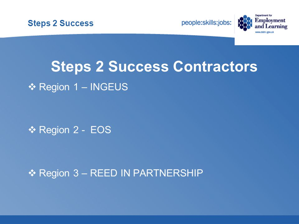 Steps 2 Success  Once a client is referred to Steps 2 Success they will remain with the Contractor for 12 or 18 months and are no longer part of an ES Adviser caseload  If a client starts work while on the programme the Contractor should still continue to provide support to help them sustain their employment  Most JSA Clients participating on the programme will continue to attend Fortnightly Reviews to 'sign on'.
