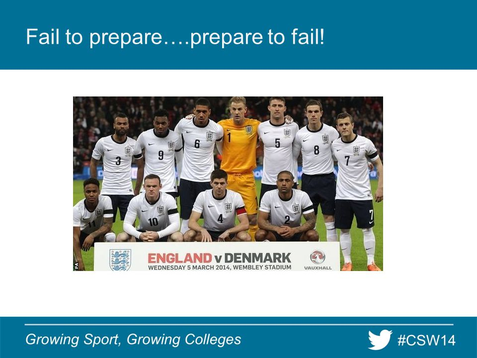 Fail to prepare….prepare to fail!