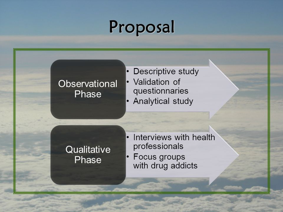 Proposal Descriptive study Validation of questionnaries Analytical study Observational Phase Interviews with health professionals Focus groups with drug addicts Qualitative Phase
