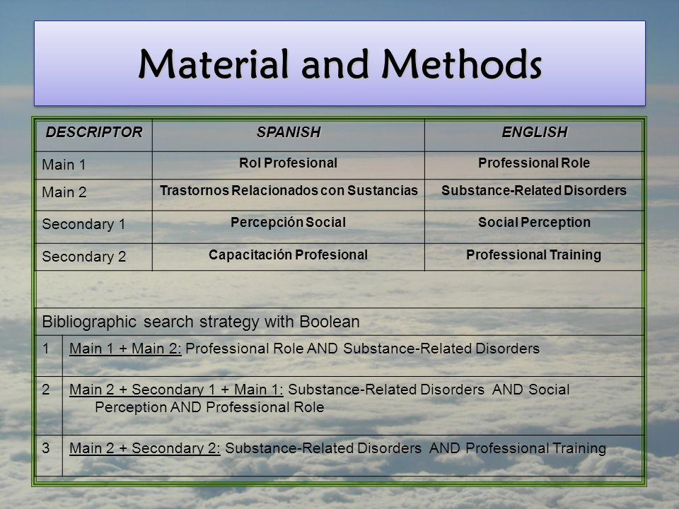 Material and Methods DESCRIPTORSPANISHENGLISH Main 1 Rol ProfesionalProfessional Role Main 2 Trastornos Relacionados con SustanciasSubstance-Related D