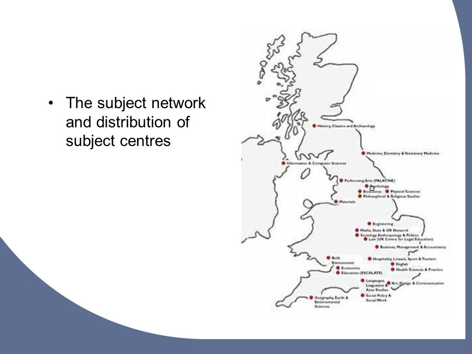 The subject network and distribution of subject centres