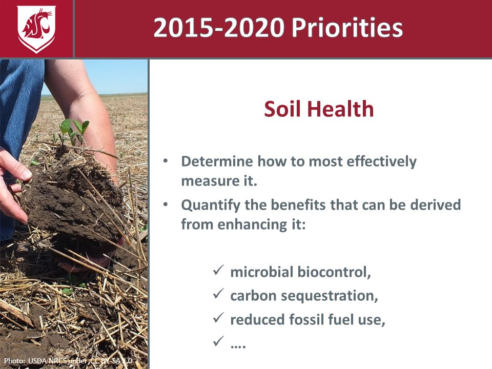 Photo: USDA NRCS under CC BY-SA 2.0 Soil Health Determine how to most effectively measure it. Quantify the benefits that can be derived from enhancing
