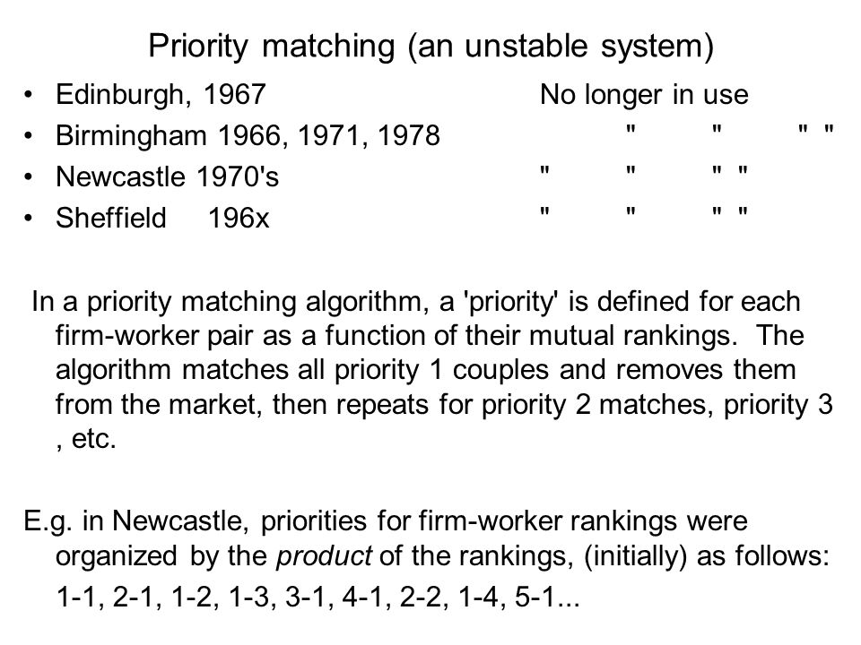 Priority matching (an unstable system) Edinburgh, 1967No longer in use Birmingham 1966, 1971, 1978