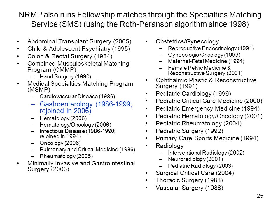 25 NRMP also runs Fellowship matches through the Specialties Matching Service (SMS) (using the Roth-Peranson algorithm since 1998) Abdominal Transplan