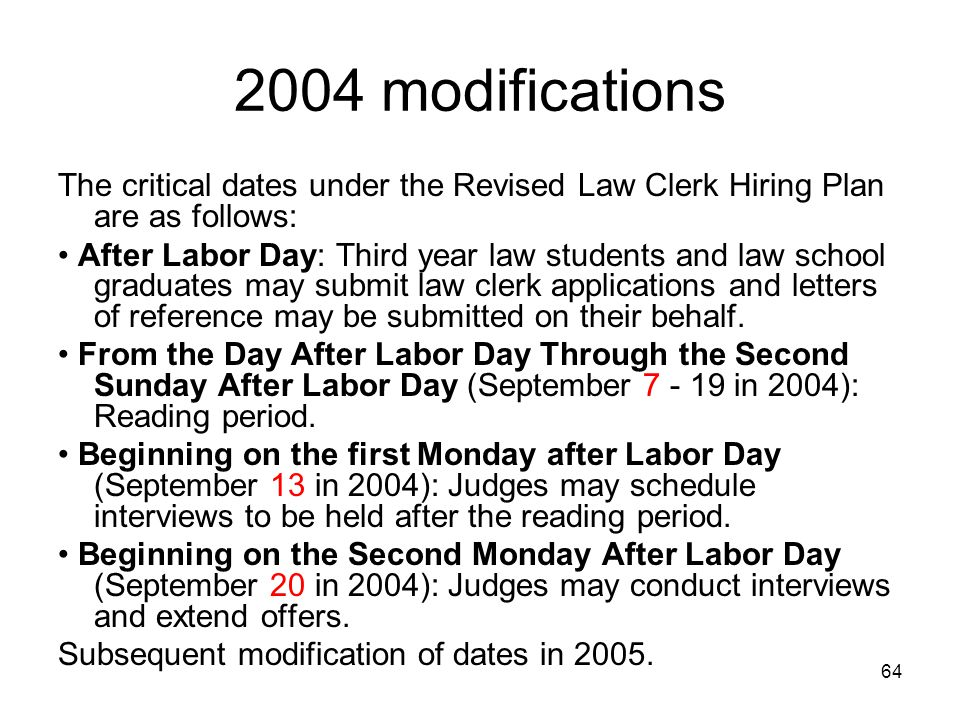 64 2004 modifications The critical dates under the Revised Law Clerk Hiring Plan are as follows: After Labor Day: Third year law students and law scho