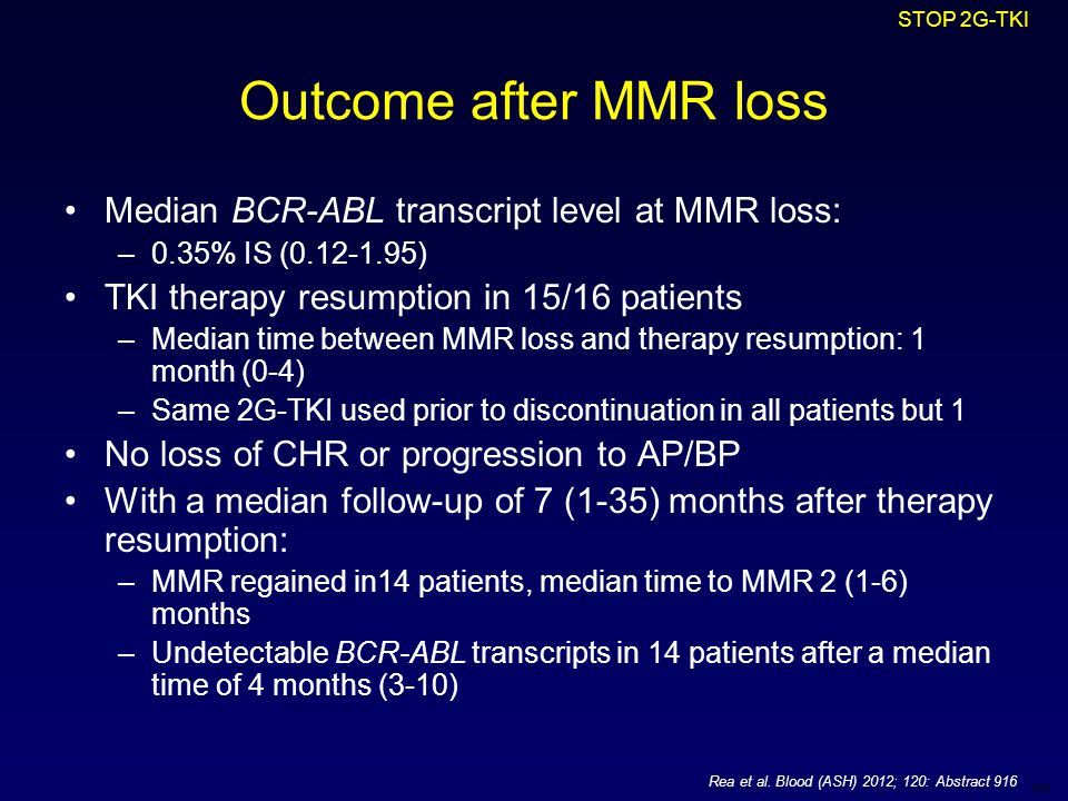 DR Outcome after MMR loss Median BCR-ABL transcript level at MMR loss: –0.35% IS (0.12-1.95) TKI therapy resumption in 15/16 patients –Median time between MMR loss and therapy resumption: 1 month (0-4) –Same 2G-TKI used prior to discontinuation in all patients but 1 No loss of CHR or progression to AP/BP With a median follow-up of 7 (1-35) months after therapy resumption: –MMR regained in14 patients, median time to MMR 2 (1-6) months –Undetectable BCR-ABL transcripts in 14 patients after a median time of 4 months (3-10) STOP 2G-TKI Rea et al.