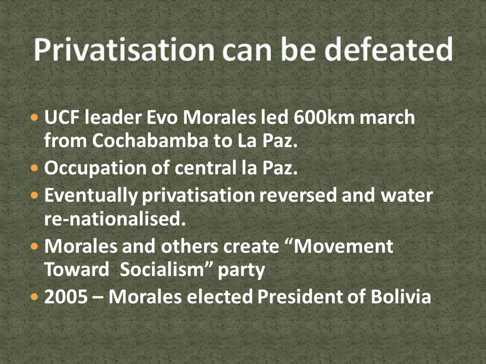 UCF leader Evo Morales led 600km march from Cochabamba to La Paz.