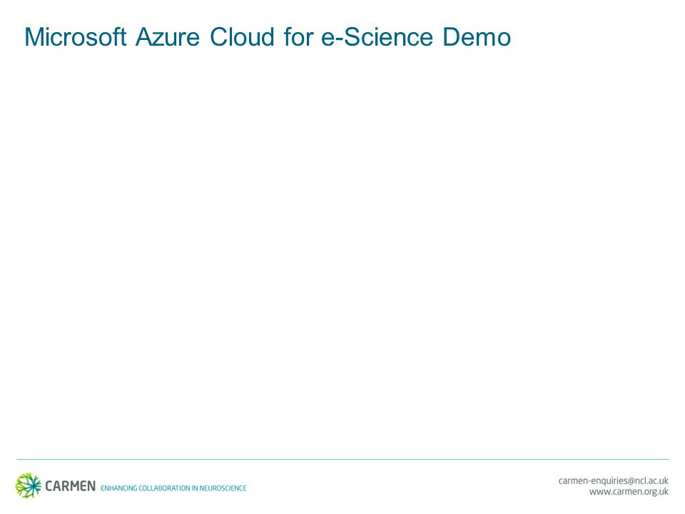 Microsoft Azure Cloud for e-Science Demo
